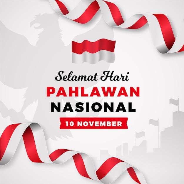 Journée Des Héros Pahlawan Dégradé Vecteur gratuit