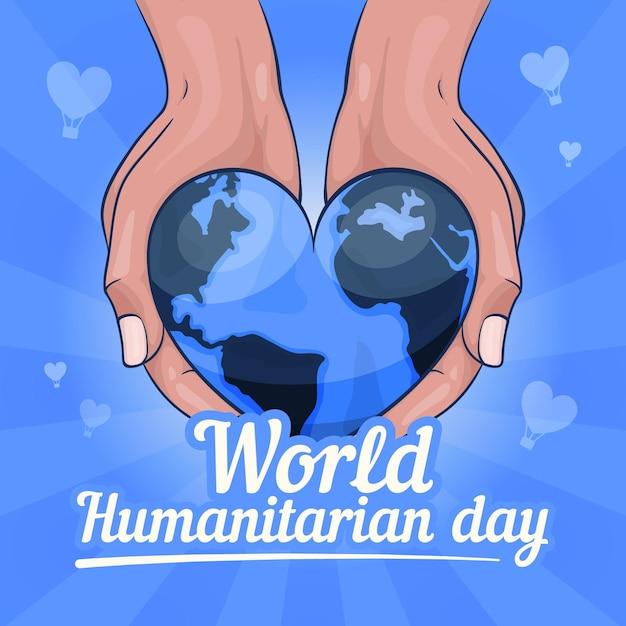 Journée Humanitaire Mondiale Dessinée à La Main Vecteur gratuit