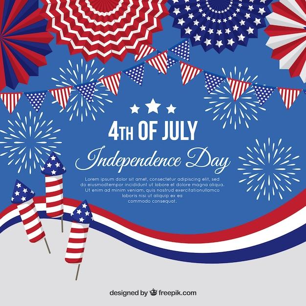 Journée de l'indépendance américaine avec feux d'artifice Vecteur gratuit