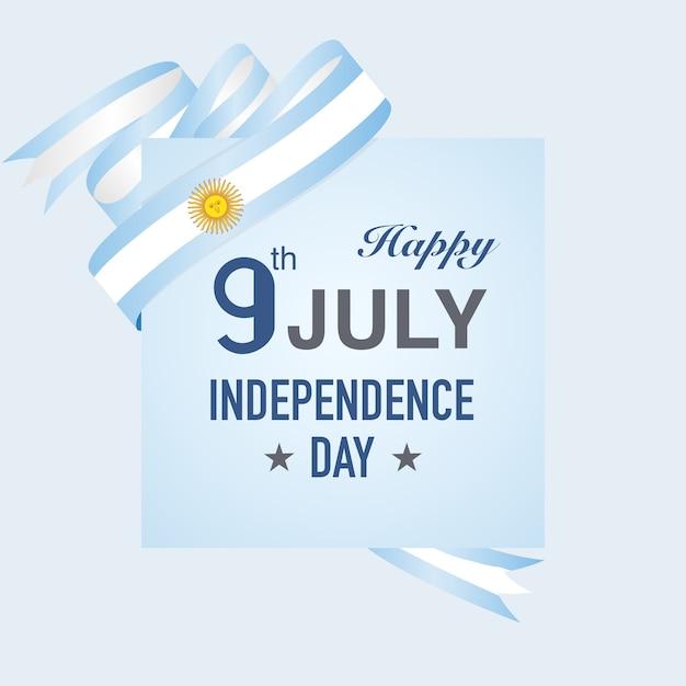 Journée de l'indépendance de l'argentine sur les rubans de drapeau bleu Vecteur Premium