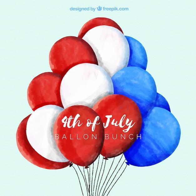 Journée de l'indépendance des états-unis avec des ballons aquarelles Vecteur gratuit