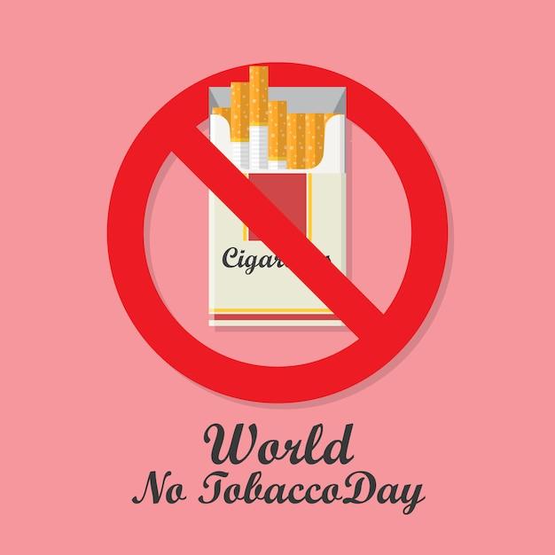 Journée d'interdiction de la journée mondiale sans tabac avec paquet de cigarettes Vecteur Premium