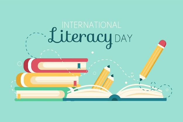 Journée Internationale De L'alphabétisation Avec Des Livres Et Un Crayon Vecteur gratuit