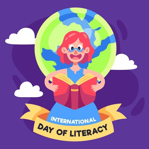 Journée Internationale De L'alphabétisation Avec La Personne Et La Terre Vecteur gratuit