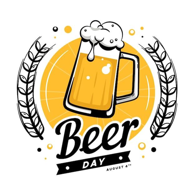 Journée Internationale De La Bière Dessinée à La Main Vecteur Premium