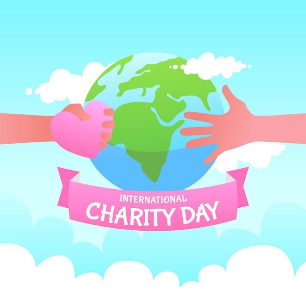 Journée Internationale De La Charité Au Design Plat Vecteur gratuit