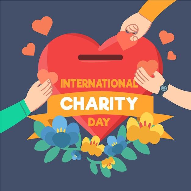 Journée Internationale De Charité Dessinée à La Main Vecteur gratuit