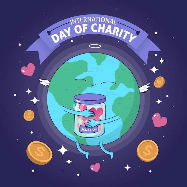 Journée Internationale De La Charité De Fond Dessiné à La Main Vecteur gratuit