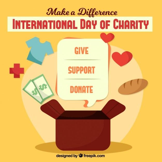 Journée internationale de la charité fond Vecteur gratuit
