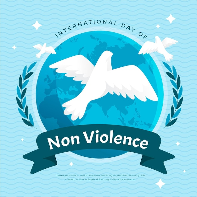Journée Internationale De Conception Plate De La Colombe De La Non-violence Vecteur gratuit