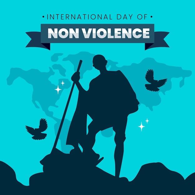 Journée Internationale De Conception Plate De L'illustration De La Non-violence Vecteur gratuit
