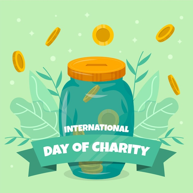 Journée Internationale De Design Plat De Fond De Charité Vecteur gratuit
