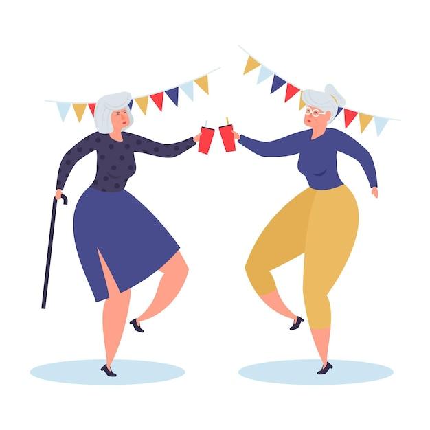 Journée Internationale Dessinée à La Main Des Personnes âgées Avec Grands-parents Vecteur gratuit