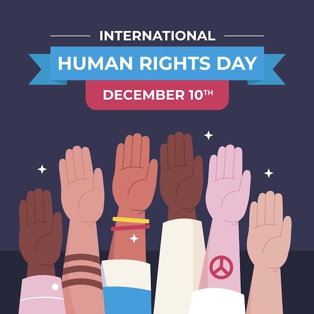 Journée Internationale Des Droits De L'homme Design Plat Avec Les Mains Vecteur gratuit