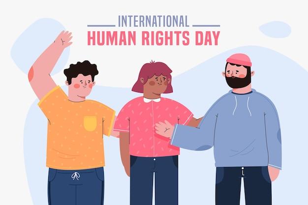 Journée Internationale Des Droits De L'homme Design Plat Avec Des Personnes Vecteur gratuit