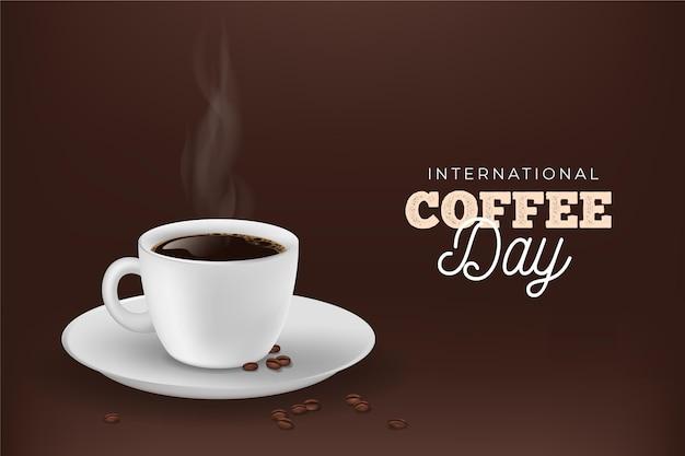 Journée Internationale Du Café Réaliste Vecteur gratuit