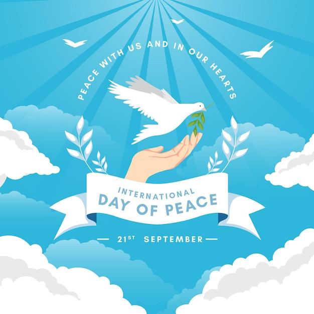 Journée Internationale Du Design Plat Du Concept De Paix Vecteur Premium