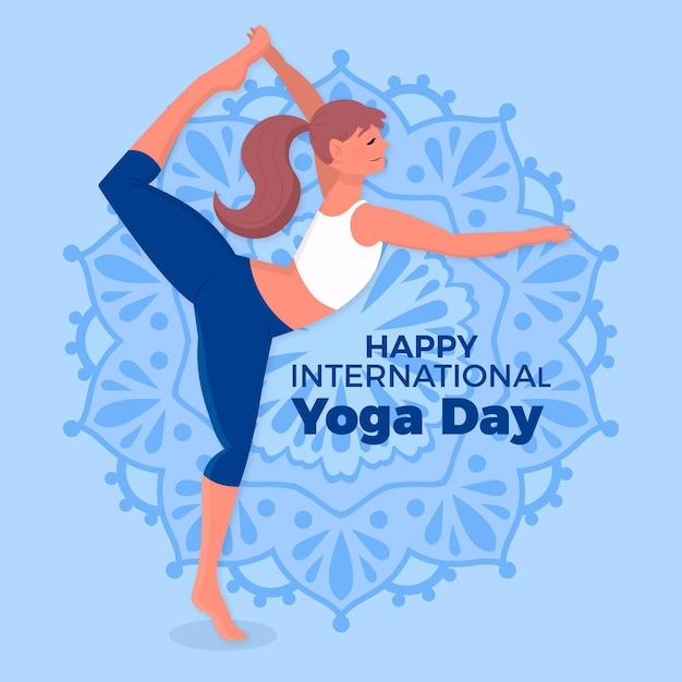 Journée Internationale Du Dessin De Yoga Vecteur gratuit