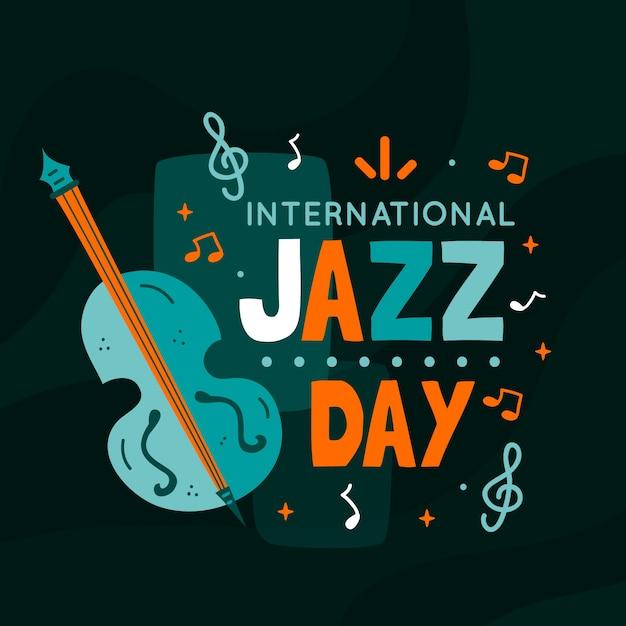 Journée Internationale Du Jazz Avec Basse Et Notes Vecteur gratuit