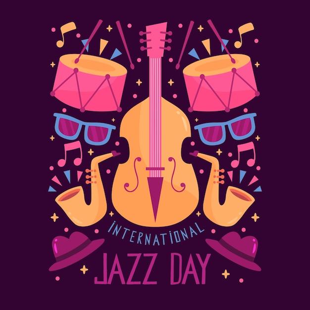 Journée Internationale Du Jazz Dessinée à La Main Vecteur gratuit