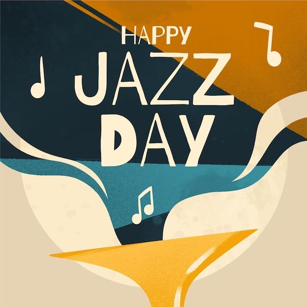 Journée Internationale Du Jazz Heureux Avec Des Notes De Musique Vecteur gratuit
