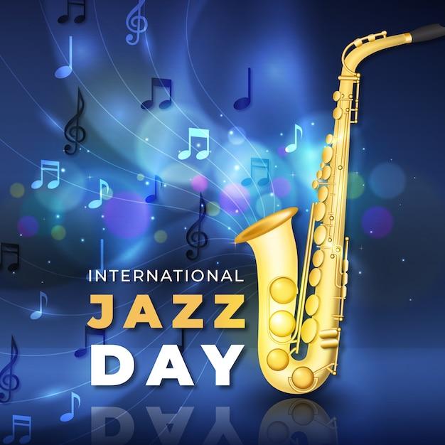 Journée Internationale Du Jazz Réaliste Avec Saxophone Vecteur gratuit