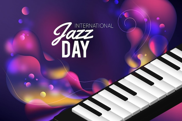 Journée Internationale Du Jazz Réaliste Vecteur gratuit