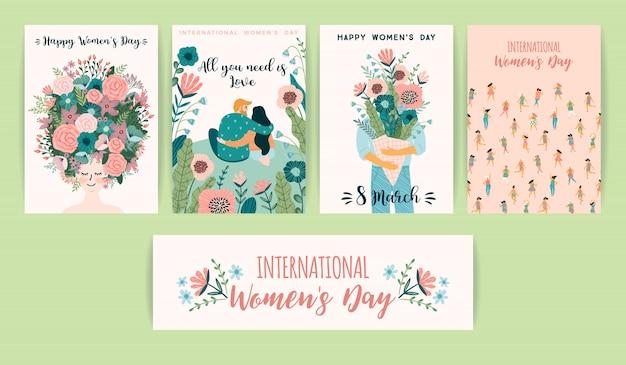 Journée Internationale De La Femme. Modèles Vectoriels Avec Des Femmes Mignonnes Vecteur Premium