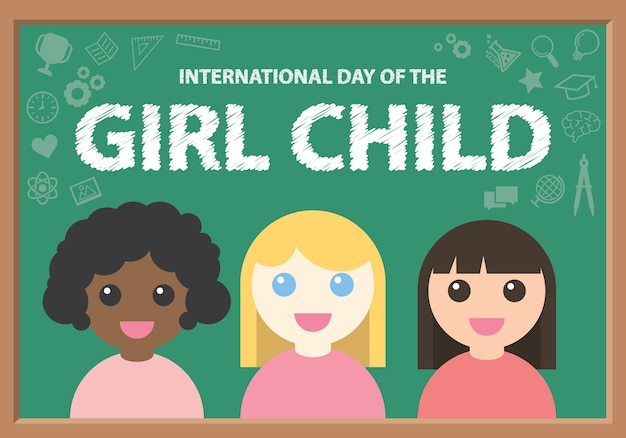 Journée internationale des filles Vecteur Premium