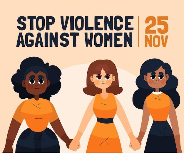 Journée Internationale Illustrée Pour L'élimination De La Violence à L'égard Des Femmes Vecteur Premium