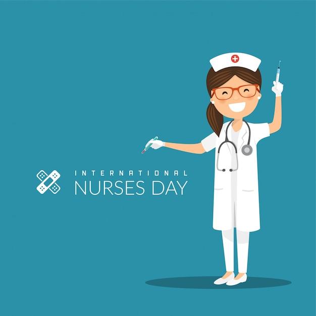 Journée internationale des infirmières Vecteur Premium