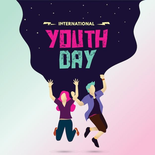 Journée internationale de la jeunesse Vecteur Premium