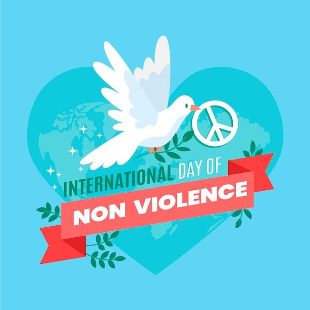 Journée Internationale De La Non-violence Au Design Plat Vecteur gratuit