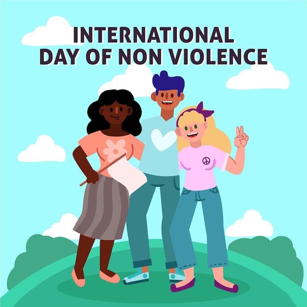 Journée Internationale De La Non-violence Dessinée à La Main Vecteur gratuit