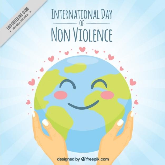Journée internationale de la non-violence monde heureux fond Vecteur gratuit