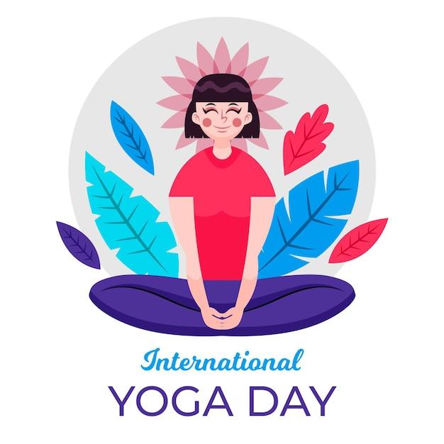 Journée Internationale Paisible De Yoga Pour Femme Vecteur gratuit