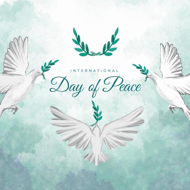 Journée Internationale De La Paix Aquarelle Vecteur gratuit