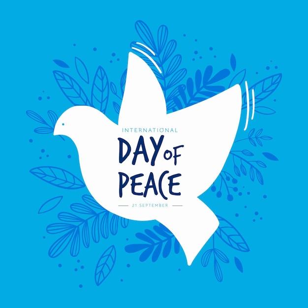 Journée Internationale De La Paix Avec Oiseau Vecteur gratuit