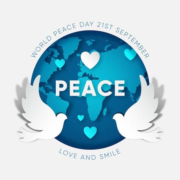 Journée Internationale De La Paix En Papier Vecteur gratuit