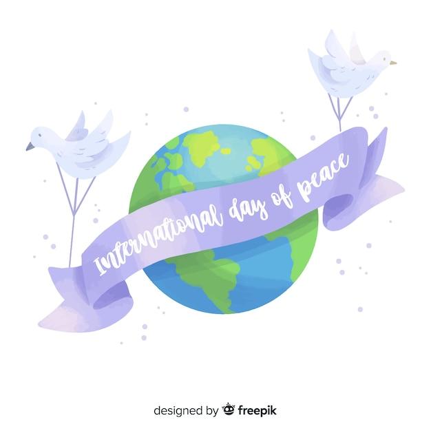 Journée internationale de la paix avec la planète terre Vecteur gratuit