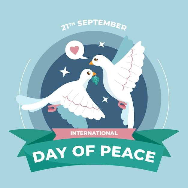 Journée Internationale De Paix Plate Vecteur gratuit