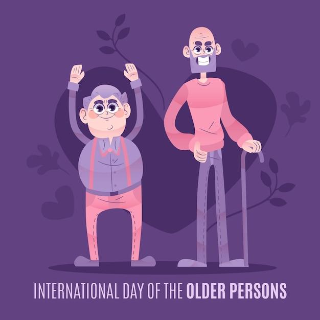 Journée Internationale Des Personnes âgées Dessinée à La Main Vecteur gratuit