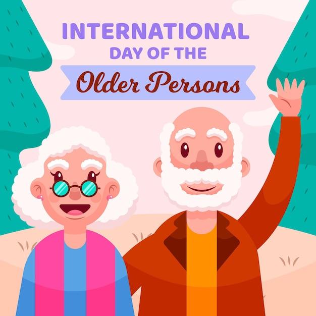 Journée Internationale Des Personnes âgées Vecteur gratuit