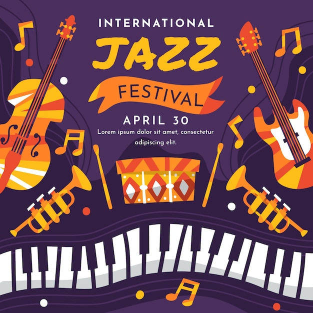 Journée Internationale Plate Du Jazz Vecteur gratuit