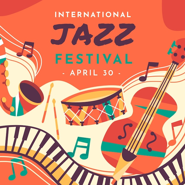 Journée Internationale Plate Du Jazz Vecteur gratuit