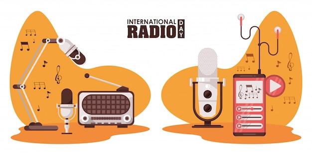 Journée Internationale De La Radio Avec Appareils Rétro Et Microphones Vecteur Premium