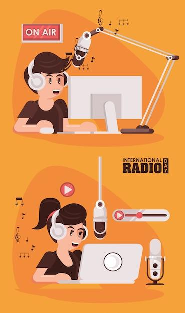 Journée Internationale De La Radio Avec Un Couple D'annonceurs Vecteur Premium