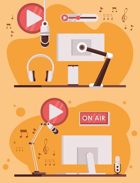 Journée Internationale De La Radio Avec Des écrans D'ordinateur Vecteur Premium