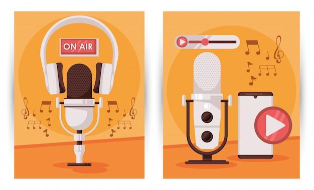 Journée Internationale De La Radio Avec Microphone Et Smartphone Vecteur Premium