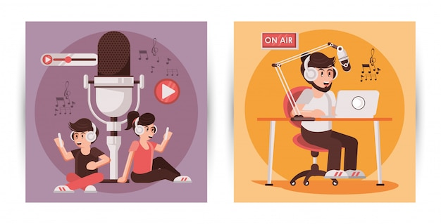 Journée Internationale De La Radio Avec Des Personnages Annonceurs Vecteur Premium